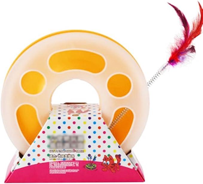 Hemore interactifs Jouets pour Chat simple couche dattractions plaque Chat platine Jouets Chat en plumes Printemps Balle Bell Toys Jaune Sant/é Baby Care