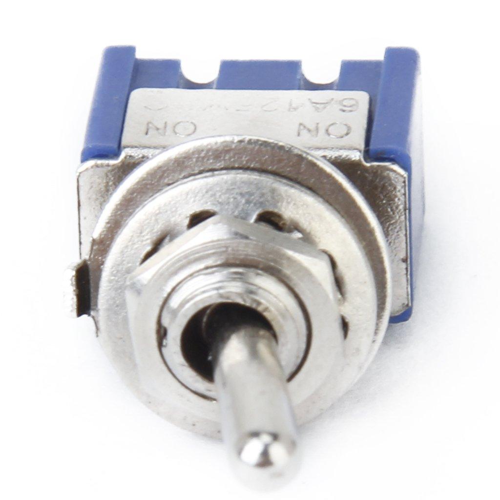Mini interruptor de palanca con tope SPDT ON//ON 3 A 125 V//CA 2 posiciones 220 V//6 A 3 polos perfk