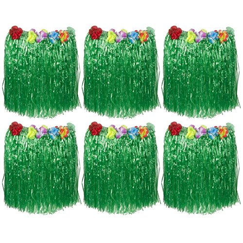Hawaiian Hula Skirt – 6-Pack Luau Grass Skirts with Colorful Silk Faux Flowers Luau Party Supplies for Costume Party, Events, Birthday, and Celebrations, Green, One Size Fits Most, 22.5 x 15 Inches