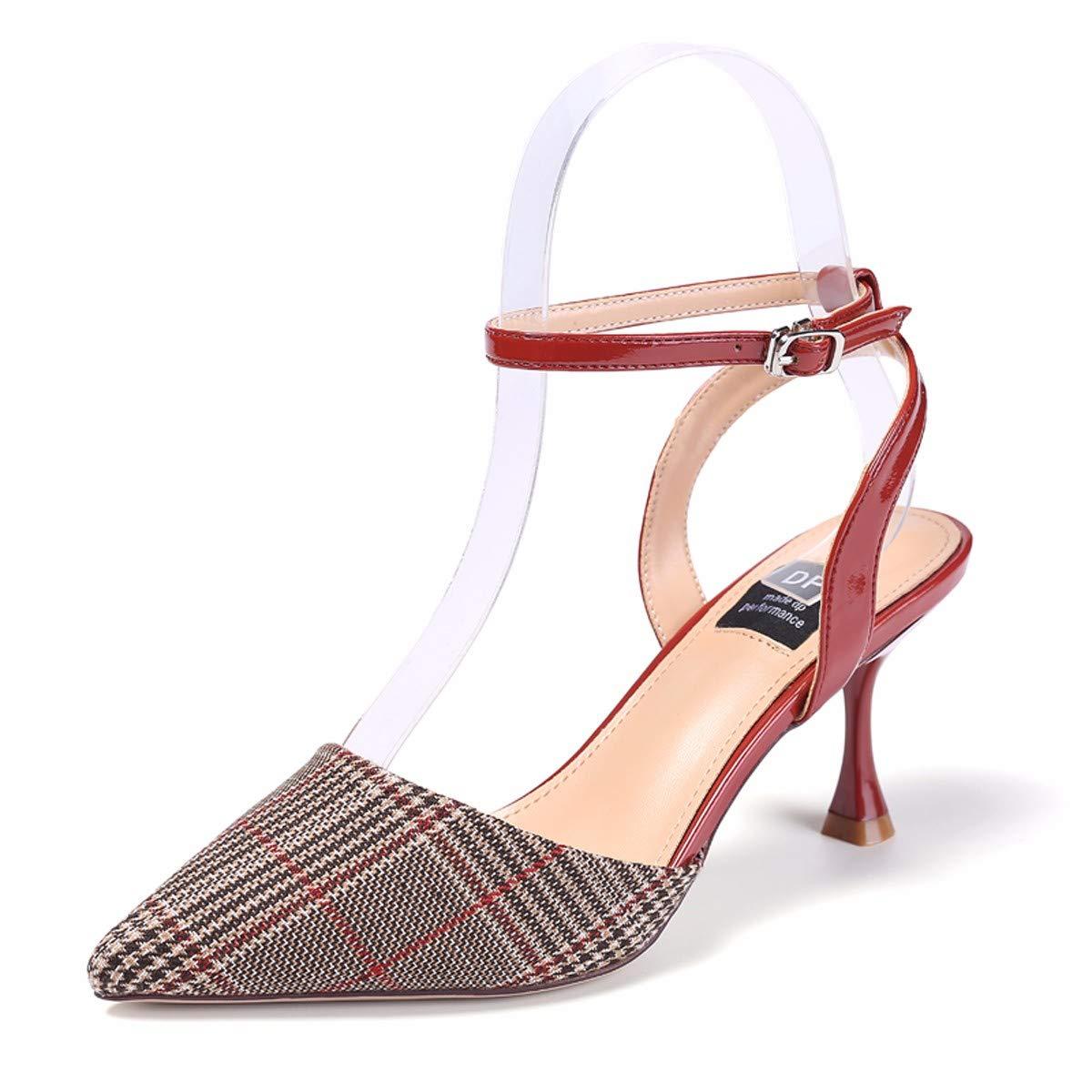 GTVERNH Frauen Schuhe/Im Sommer Frauen Pointcuts Halb Taschen Aufgewölbte Sandaleen Schnallen Dünnen Absätzen 8 cm Promis Überprüft Schuhe.