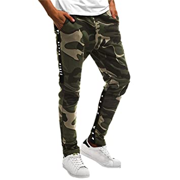 84a1582397 KFSO Mens Striped Track Camo Pants Skinny Fit Stretch Trouser Elastic Jogger  Athletic Sweatpants (Army
