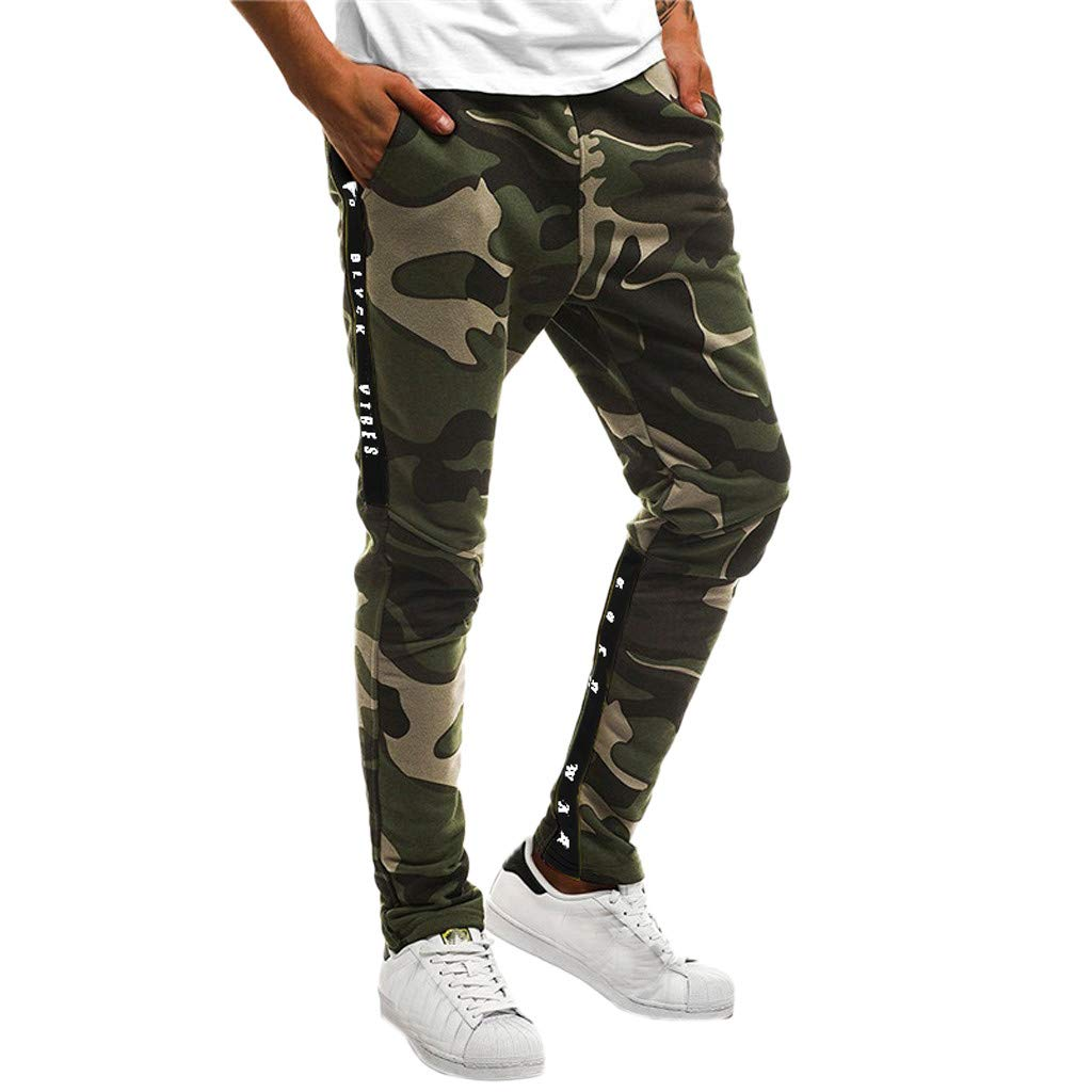 Shybuy Men's Stitching Camouflage Training Sports Trousers (L, Army Green)