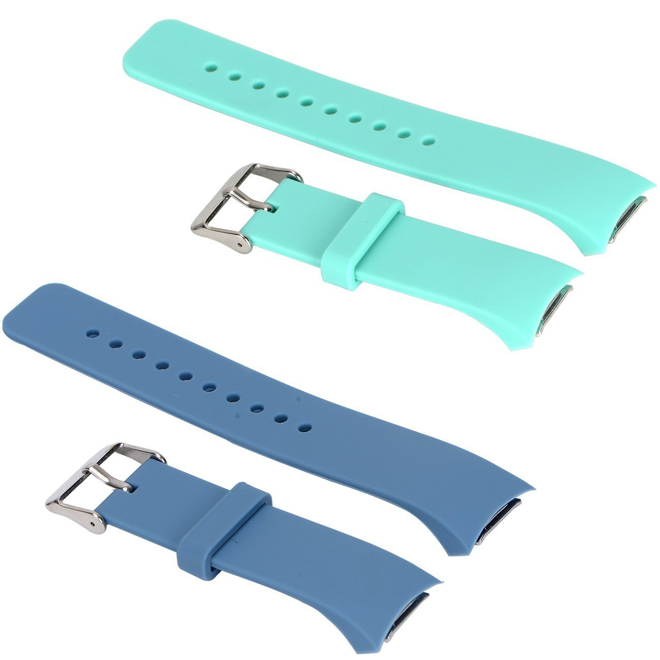 E ECSEM 2pcs Small Bands for Gear Fit2 Pro Watch, Replacement Soft Silicone Bands Straps for Samsung Gear Fit2 Pro Smart Fitness Band and Samsung Gear Fit2 Smartwatch : Slate+Teal