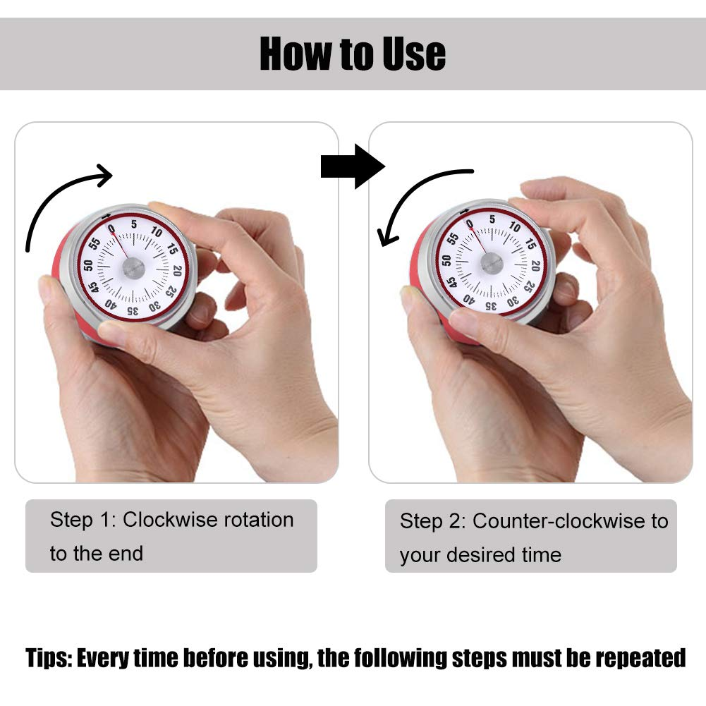 Magnetico timer meccanico 60 minuti in acciaio inox ruotare contatore forte allarme conto alla rovescia promemoria per la cottura in cucina cottura Sport Timekeeper ufficio