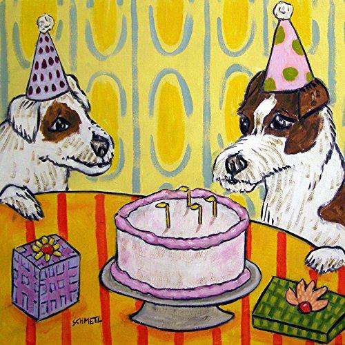 Jack Russell Terrier Birthday dog art tile coaster gift