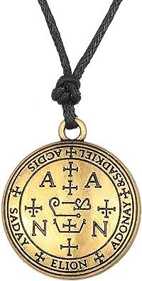 Lemegeton Gothic Style The Sigil of Archangel Samael Pendant,Amulet Rope Necklace for Unisex
