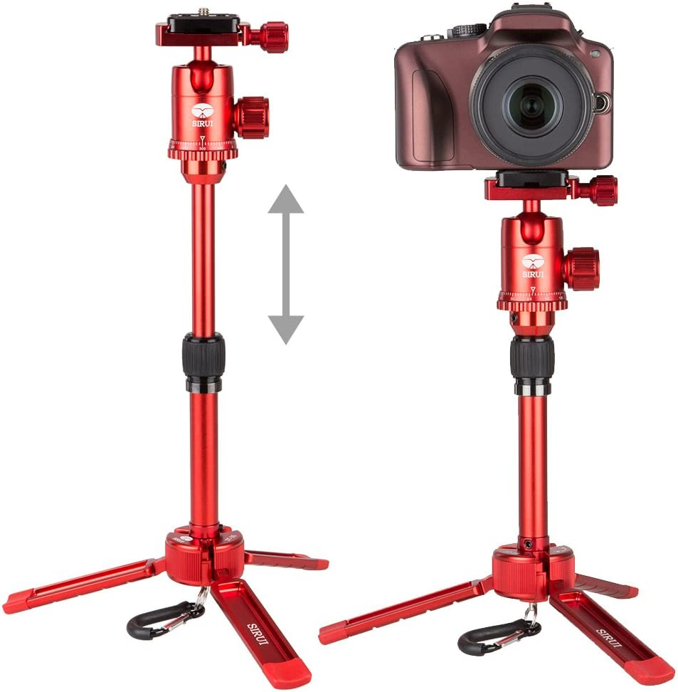 Red SIRUI 3T-35 Table Top//Handheld Video Tripod with Ball Head