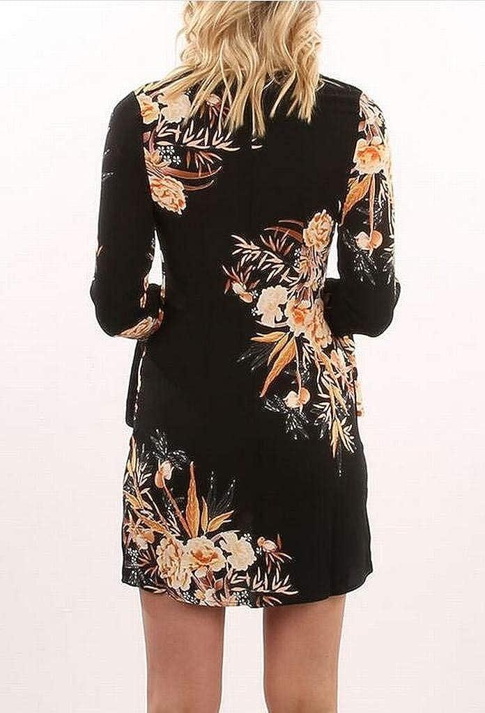 MK988 Womens Casual Floral Print Trumpt Long Sleeve Casual Dress