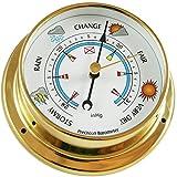 Ambient Weather BAROMETER-26 4.75'' Brass Barometer, USA Version