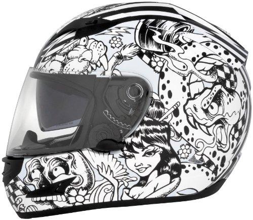 Cyber Helmets Lethal Threat US-97 Sharpie Helmet , Distinct Name: Sharpie, Gender: Mens/Unisex, Helmet Category: Street, Helmet Type: Full-face Helmets, Primary Color: White, Size: XS 641050