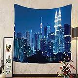 Gzhihine Custom tapestry Fabric Tapestry Kuala Lumpur Skyline at Night KLCC Twin Towers Malaysian Landmark Monochromic Photo Bedroom Living Room Dorm Decor Navy Black