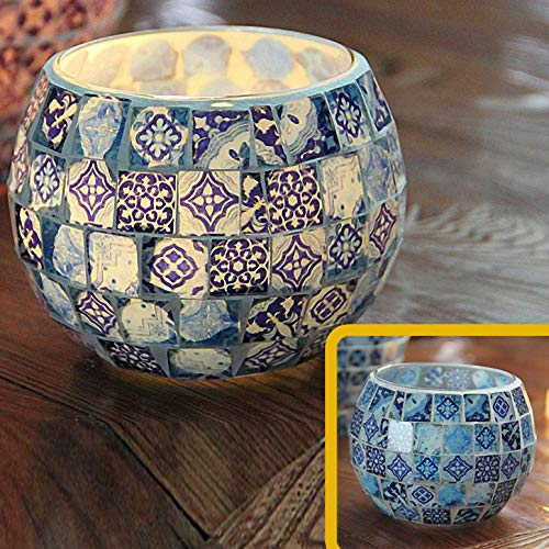 Chinese Vintage Mosaic Glass Led Candle Holders Handmade Blue and White Porcelain Bowl Candleholders Flameless Battery Shivering Floral Candlesticks Candle Lamps for Romantic Wedding Home Party ()
