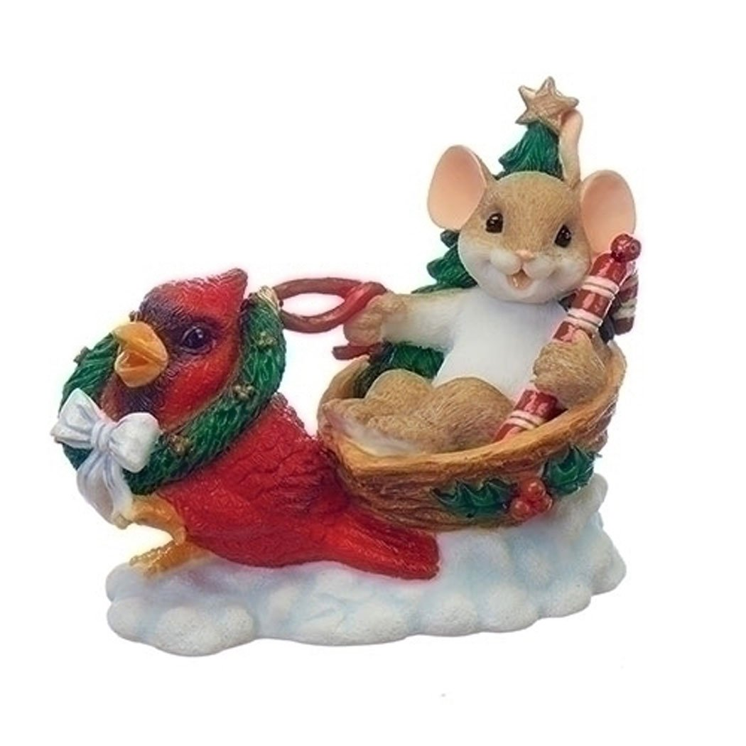 Enesco Charming Tails Mouse in Sleigh with Red Cardinal Bird Figurine Christmas