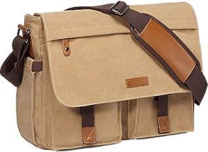 Messenger Bag for Men,Vaschy Water Resistant Canvas 14inch Laptop Shoulder Commuter Bag for Men and Women Camel
