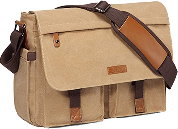 Messenger Bag for Men,Vaschy Water Resistant Canvas 14inch Laptop Shoulder Commuter Bag for Men and Women Camel