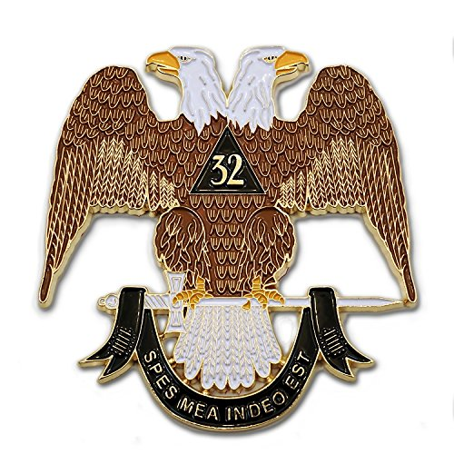 (32nd Degree Scottish Rite Gold Masonic Auto Emblem - 3