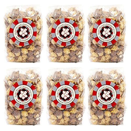 Rachel Michael's Gourmet BUCKEYE PEANUT BUTTER & CHOCOLATE Popcorn - Perfect for wedding favors, birthday gifts, office gifts, corporate gifts, and snacks (6 Bags of Popcorn) ()