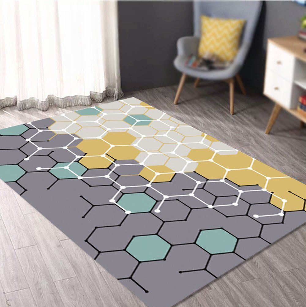 New geometric carpet / living room sofa coffee table large carpet / bedroom bedside blanket / entrance hall mat / thin section can be washed mats ( Size : 160230cm )