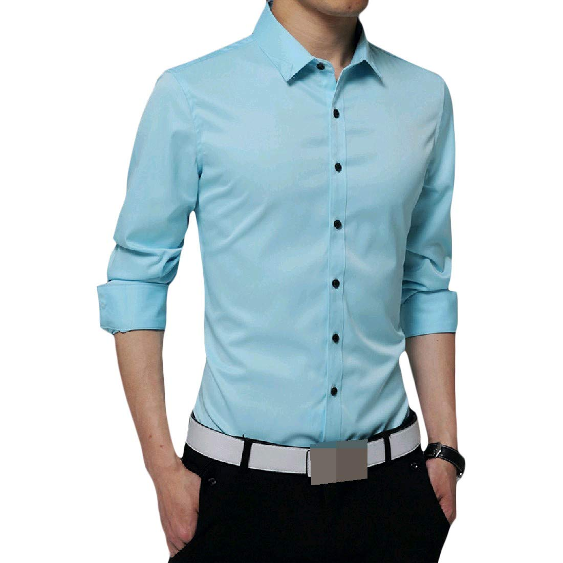 Zimaes-Men Business Plus Size Solid-Colored Button Tees Work Shirt