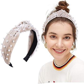 Bohemian Soft Velvet Hairband Pearl Knotted Hairband Girl Women Hair Accessories