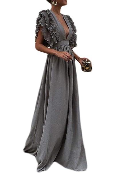 Zamtapary Mujer Vestido De Graduación Elegante V Cuello Ruffel Sólido Fiesta Maxi Swing Vestidos: Amazon.es: Ropa y accesorios