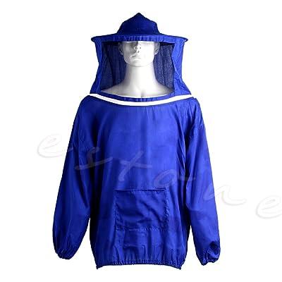 Amrka Beekeeping Jacket Anti-bee Clothing Veil Smock Equipment Supplies Bee Keeping Hat Sleeve Suit (Blue) : Garden & Outdoor