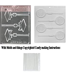 Graduation Cap Lolly Chocolate mold with Class of 2019 Chocolate Candy Mold with Copyrighted Molding Instruction