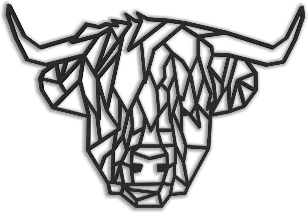 Animales Origami Arte de Pared Fotodekora Highland Cow Geometric Wire Sculpture by 61x41 cm Escultura de Lineas Negras para Colgar en Pared Dise/ño geom/étrico