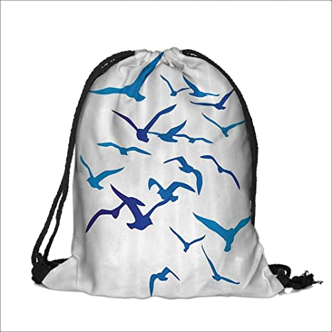 Amazon Com Draw Pocket Polyester Backpack Silhouettes Pige Dove