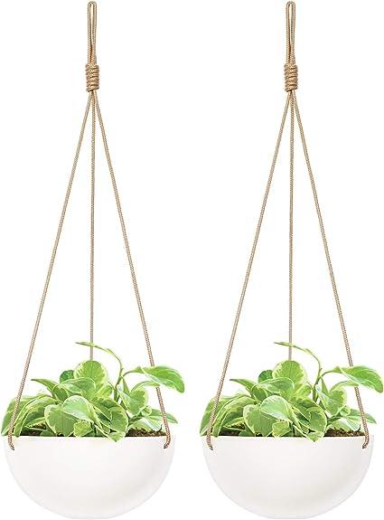 Mkono 9 Inch Ceramic Hanging Planter Indoor Outdoor Modern Round Flower Plant Pot White Porcelain Hanging Basket With Polyester Rope Hanger For Herbs Ferns Ivy Crawling Plants Set Of 2 Garden