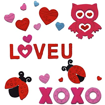 a97a3843a9771 Gel Charms Valentines Day 2019 Window Clings Pink Red Hearts Owl Ladybug  XOXO