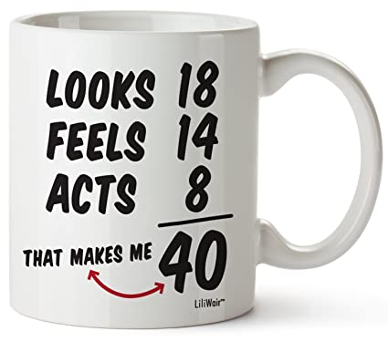 40th Birthday Gifts For Women Forty Years Old Men Gift Mugs Happy Funny 40 Mens Womens Womans Wifes Female Man Best Friend 1979 Male Mug Unique Ideas