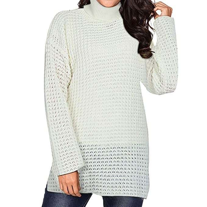 f1f557615cde Quelife Women Winter Fashion Long Sleeve Knitted Solid Tops Loose ...