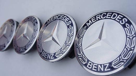 4X Tapacubos Mercedes 75mm Tapas Centrales Rueda,1 Llavero de Regalo Incluido,para Llantas de aleacion Clase E Clase C Cl CLS SLK ML GLK Clase A Clase B ...