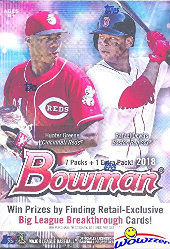 2018 Bowman MLB Baseball EXCLUSIVE Factory Sealed Retail Box with 8 Packs & 80 Cards! Look for Rookie Cards & Auto's of all the Top MLB Draft Picks & SHOHEI OHTANI! Every Year this Product is ON FIRE! from Wowzzer