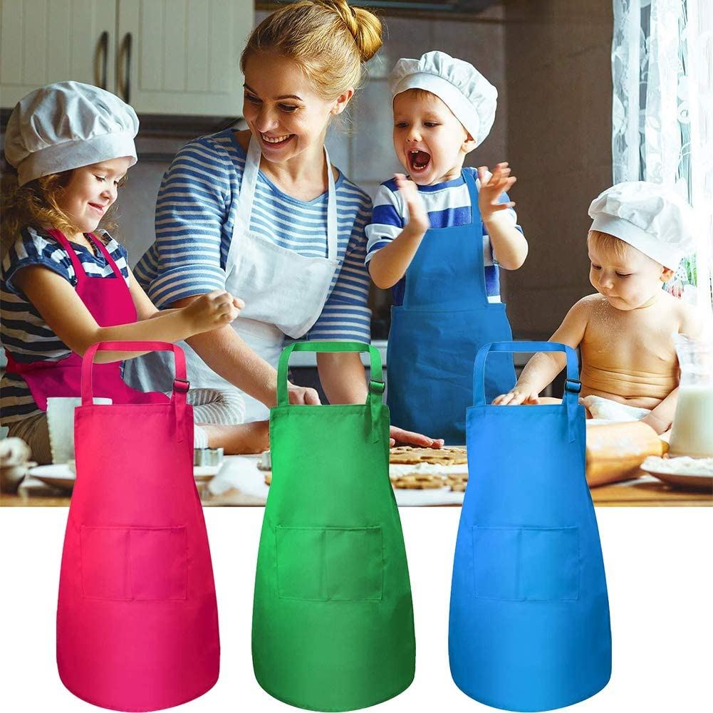 Delantal de Cocinero Ajustable para Pintura Art/ística Actividades en el Aula y Cocina Delantal Infantil Pintura con 2 Bolsillo NALCY 3 Piezas Delantales para Ni/ños