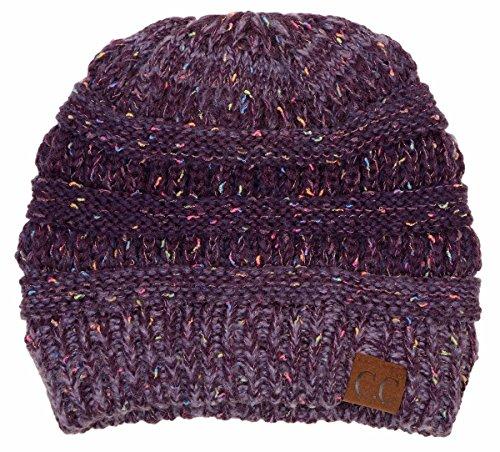 H-6033-8140 Confetti Knit Beanie - Faded/Variegated Purple