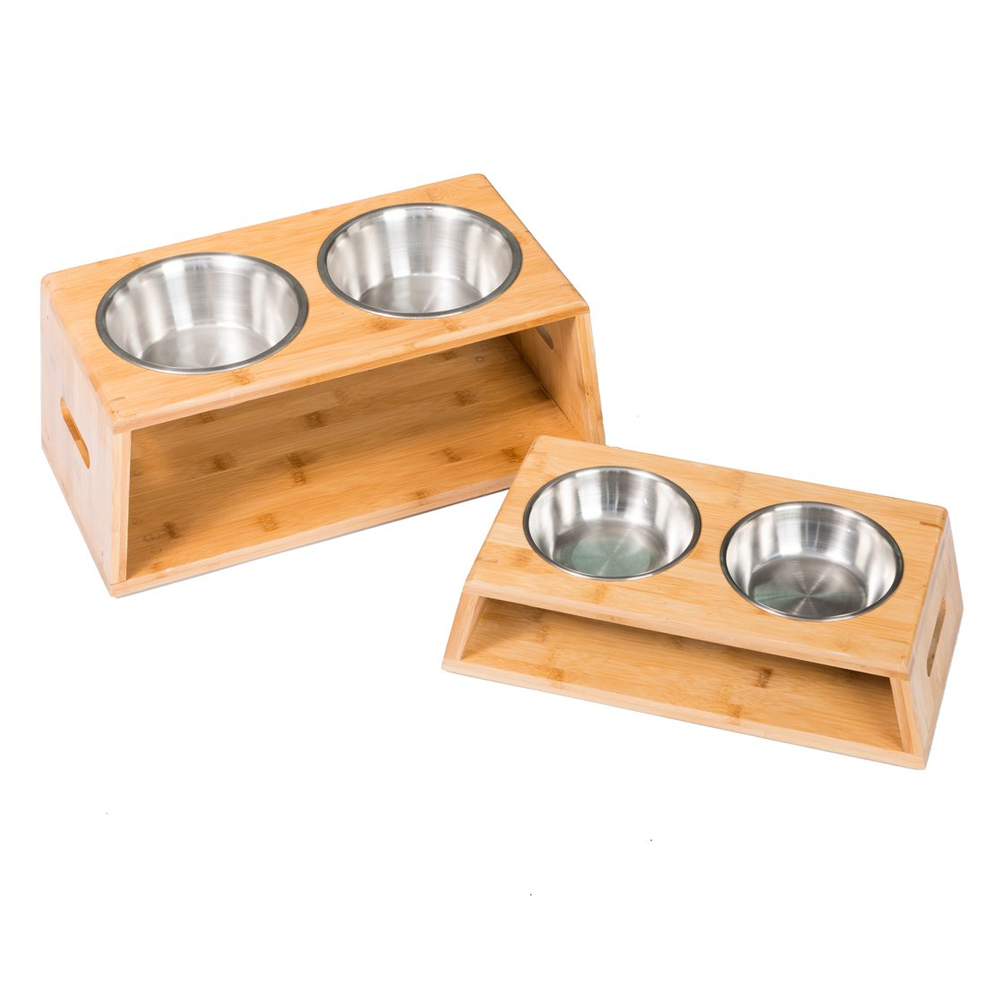 GOOD LIFE Elevated Dog Cat Pet Feeder Tall Dog Bowl Raised Bamboo Stand Cat Food Bowls Double Stainless Bowl for Small to Middle Dogs Cats