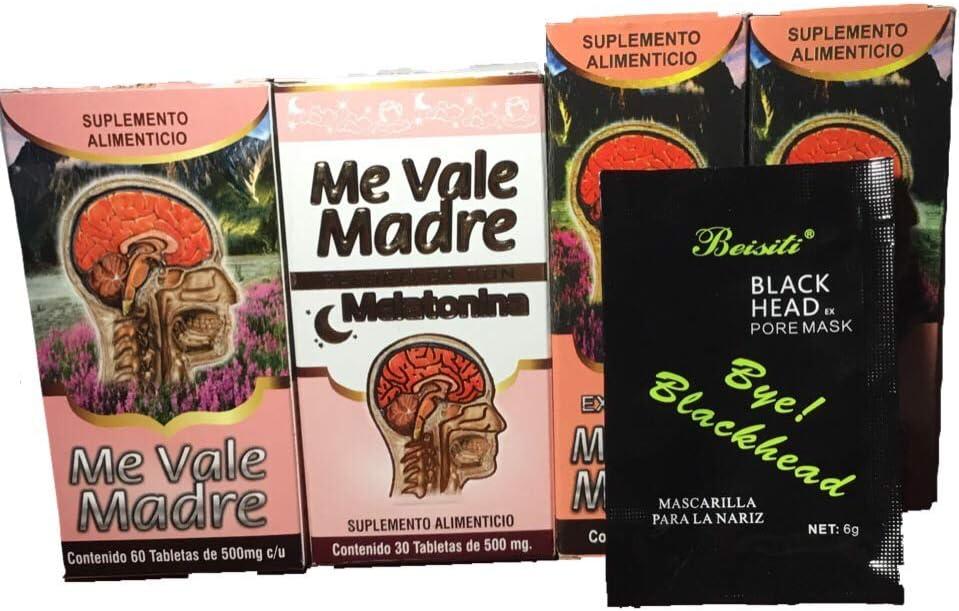 Me Vale Madre 60 Cap y Me vale Madre Melatonina 60 Cap, Mas 2 Extractos Me vale Madre Headache Migraine & Stress, Dolor De Cabeza,estres (Charcoal mask Included)