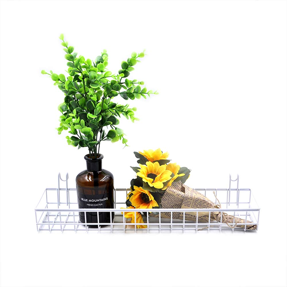 ANZOME White Mesh Wall Metal Wire Basket, Grid Panel Hanging Tray, Wall Mount Organizer, Wire Storage Shelf Rack for Home Supplies, Wall Decor Size 15.7'' x 3.9'' x 1.9''/40 x 10 x 5cm