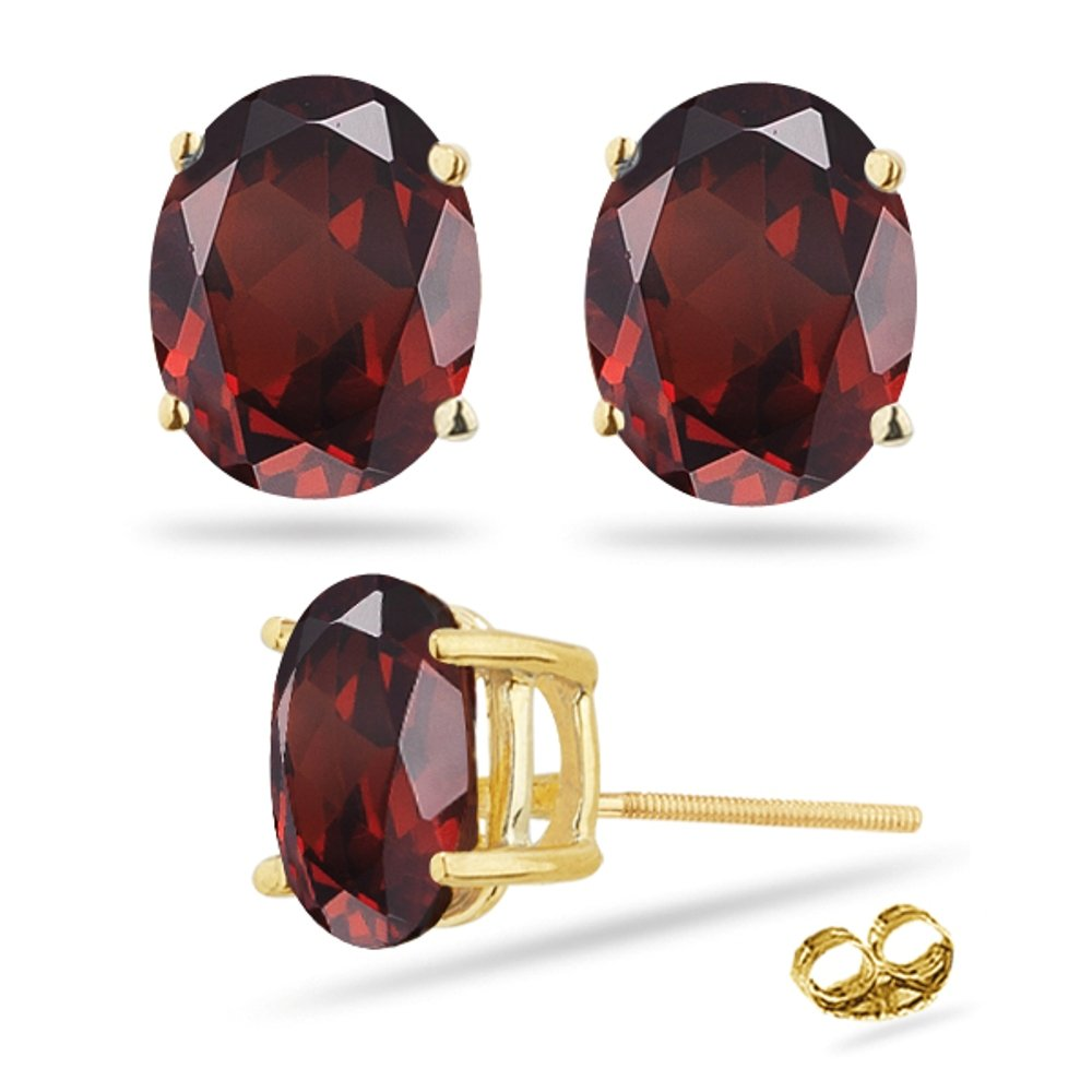 3.05-3.60 Ct Garnet Stud Earrings in 14K Yellow Gold