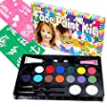 Face Paint Kit For Kids By Bo Buggles Professional: 16 Colors (100+ Faces) Large 4g Paints + Stencils; 2 Glitter Gels, 2 Brushes, 2 Sponges, NonToxic Face Painting Kit +Bonus Ebook. Join The Bug Club!