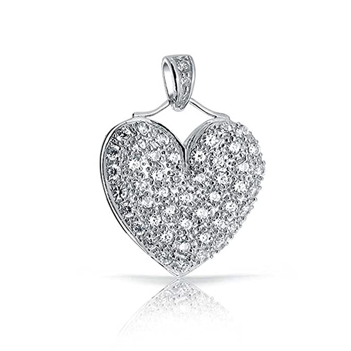 3d5ce0dae Amazon.com: Large Heart Shape Pave Cubic Zirconia CZ Puff Pendant Necklace  For Women Teen 925 Sterling Silver with Chain: Jewelry