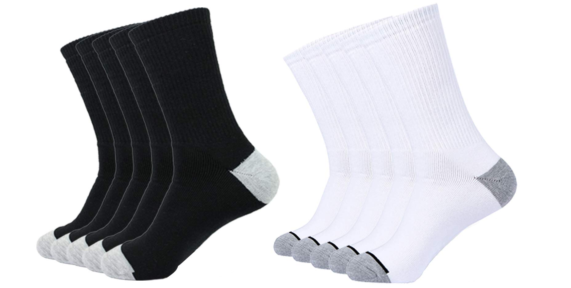 Enerwear 10P Pack Men's Cotton Moisture Wicking Extra Heavy Cushion Crew Socks (10-13/shoe size 6-12, Mix Color) by Enerwear