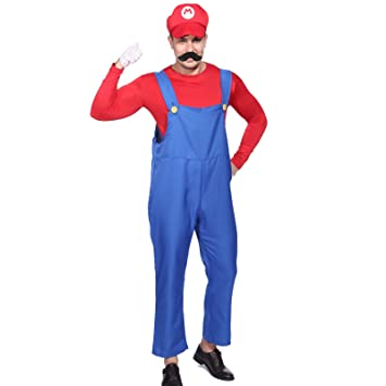 Anladia CLE DE Tous - Disfraz de Mario Bros para Adulto Hombre Cosplay Dress Fiesta Carnaval Halloween Talla XL