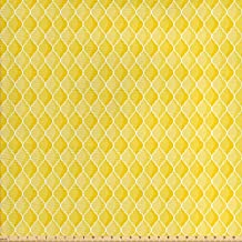 Yellow Decor Fabric by the Yard by Ambesonne, Quatrefoil Moroccan Themed Oval Geometric Ombre Pattern Artwork, Decorative Fabric for Upholstery and Home Accents, Yellow Merigold and White
