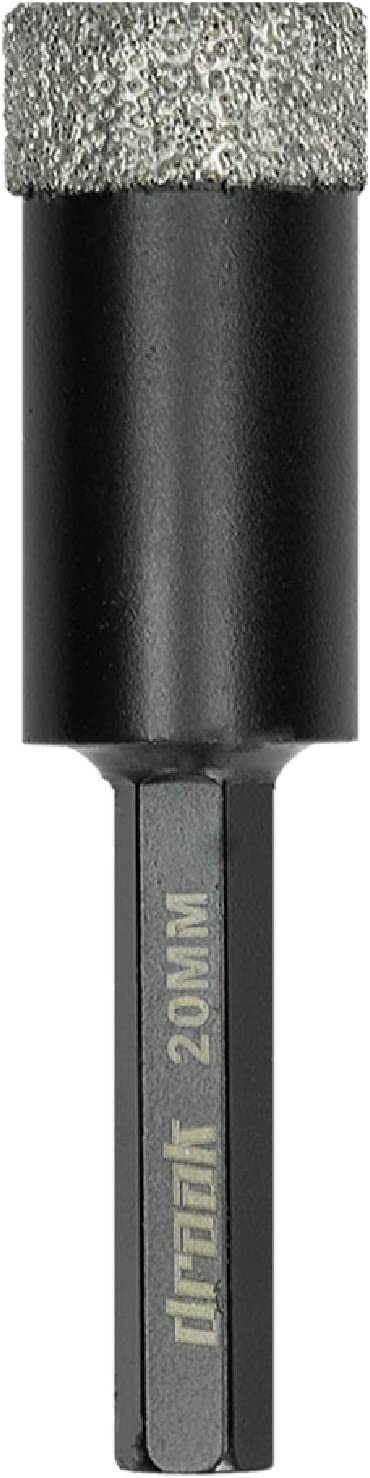 Draak Dry Diamond Drill Bit 5mm Wax Filled for The Toughest Materials Including Marble Ceramic /& Glass Tiles Vacuum Brazed Porcelain 5 Granite Porcelain