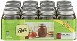 12 Ball Mason Jar with Lid - Regular Mouth - 16 oz by Jarden (Packs of 12)