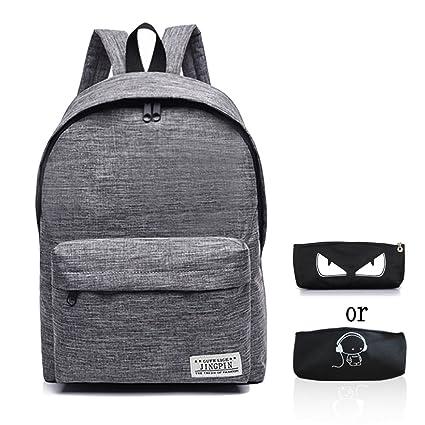 9ef752b060 Amazon.com  School Bag Canvas Book Bag School Backpacks With Pen Bag for  boys girls (Grey)  Doubmall
