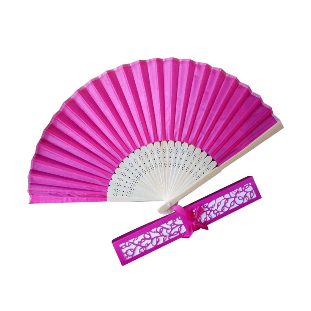Amazon.com: Cinhent Hand Folding Fans Womens Mens Stunning Silk Fans ...